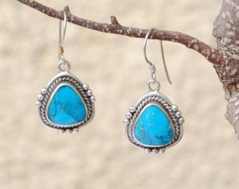 Native american turquoise earrings, sterling silver, boho earrings, vintage earrings, ethnic earrings, boho jewelry, turquoise jewelry