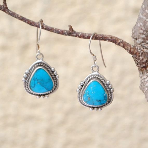 Boucles d'oreilles turquoise et argent style bohème vintage