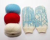 Chicago Flag and Skyline Knit Mittens
