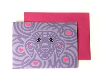dog card, dog lover card, cute dog card, cute love card, love card, dog birthday card, dog greeting card, all occasion cards, friend card