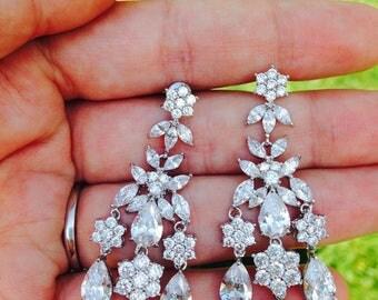 Chandelier earrings Bridal Chandelier earrings Wedding Earrings  Long wedding earrings Bridal Crystal Earrings Wedding Swarovski earrings