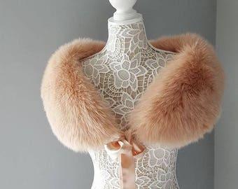 Luxury Vintage Fur Stole - Genuine Fox Fur Stole Capelet - Pink Blush Peach Salmon Shrug wrap Fur scarf shawl - Bride - Wedding Gatsby