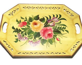 """Nashco Hand-painted and Signed Tin Serving Tray - 18""""x 13 1/2"""""""