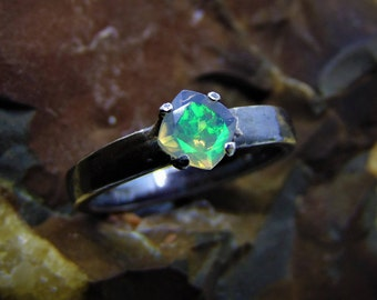 black antiqued silver faceted natural opal ring green flash fire opal welo eithopia solitaire cushion cut 4 prong setting solid sterling