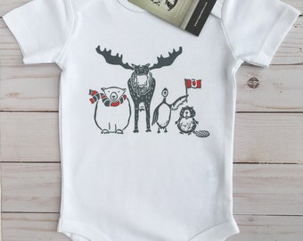 Northern Friends- Canadian- ORGANIC Baby Bodysuit-Baby Shower Gift-Boho Baby, Baby Shirt Canada