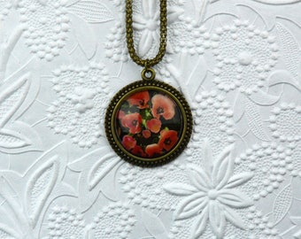 Vintage Bronze Photo Pendant with Red and Pink Tulips on Snake Chain