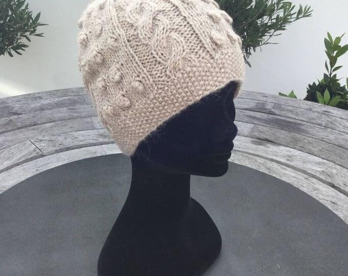 Ladies Alpaca beanie hat,  beige bobbly alpaca watch cap by Willow Luxury (one size)