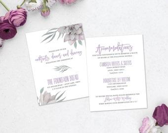 Lilac Dover Wedding Information Card
