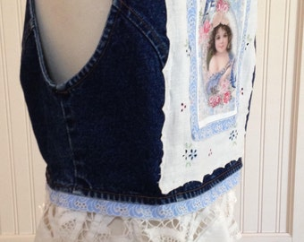 vintage upcycled denim vest, vintage linens, blue ruffled lace trim, white tape lace ruffle, vintage blue cotton lace trim, heart buttons