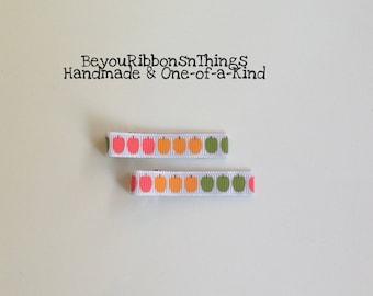 Colorful Apples | Hair Clips for Girls | Toddler Barrette | Kids Hair Accessories | Grosgrain Ribbon | No Slip Grip