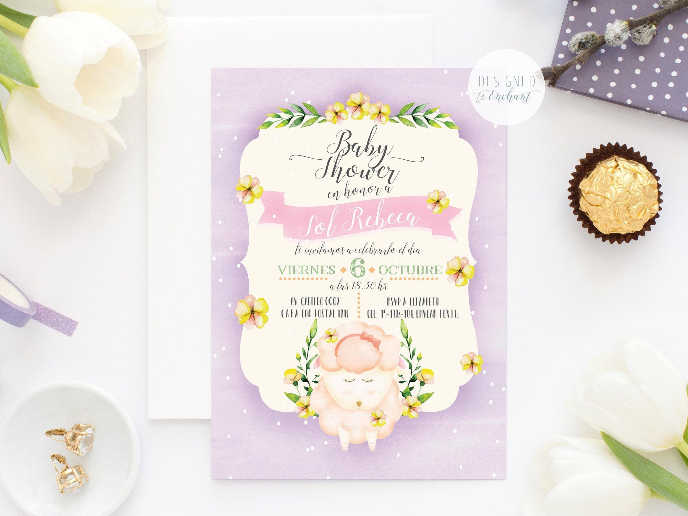 Lamb Baby Shower invitation printable, pink little lamb, girl baby ...