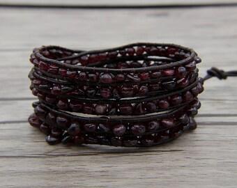 Garnet beads bracelet agate bead bracelet bead wrap bracelet leather wrap bracelet Natural stone  bracelet SL-0561