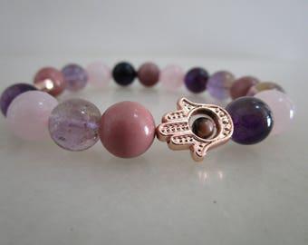 Hamza, hamza bracelet, Rose Quartz, Ametrine bracelet natural stones, bracelets, gift, gift for women, jewelry, jewelry women, ametrine