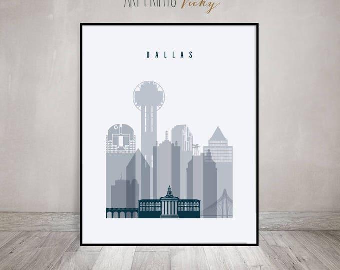 Dallas print, Poster, Dallas skyline Wall art, Texas cityscape, city print, Typography art, Home Decor, Gift, Wall art, ArtPrintsVicky
