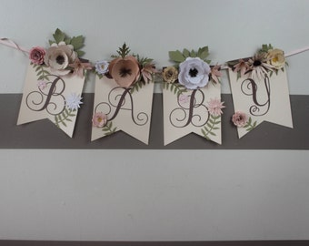 Pink and Cream Floral Banner for Girl Baby Shower and Nursery