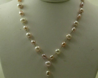 Freshwater Multi-Color Pearl Tin Cup Necklace 14k Yellow Gold Chain
