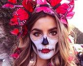 Corazón Red Butterfly Fascinator Crown, Flower Crown, Holiday Headpiece, Butterfly Headpiece, Day of the Dead