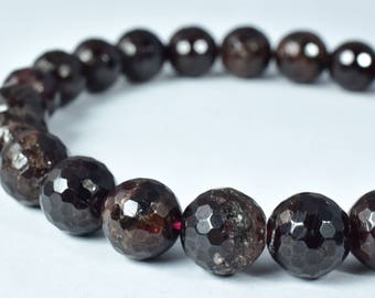 Garnet Gemstone Faceted Round Beads 8mm/10mm natural stone healing stone chakra stones for Jewelry Making #0199