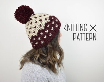 Knit Hat Pattern Knitted Fair Isle Double Brim Tuque - Beige Red Slouchy Beanie Hat Pattern