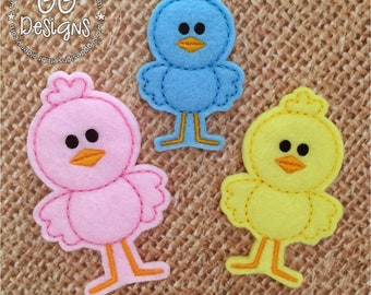 Standing Chick Felt Stitchies / feltie in the hoop machine embroidery design