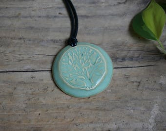 Green Tree of Life Pendant Necklace ~ Ceramic Jewelry ~ Ready to Ship!