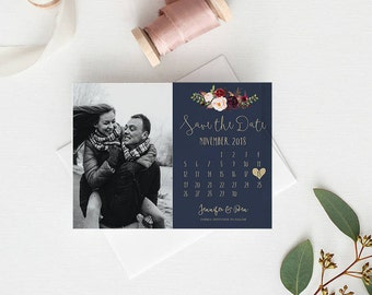 Save the Date | Wedding save the date with photo | PDF Digital Download | Marsala Navy Gold | Calendar Save our Date | The Lucy Suite
