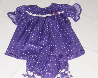 Baby Purple-White PolkaDots Dress,ShortSleeveDress,Spring-SummerDress, Party Dress, Size 6-24 Months