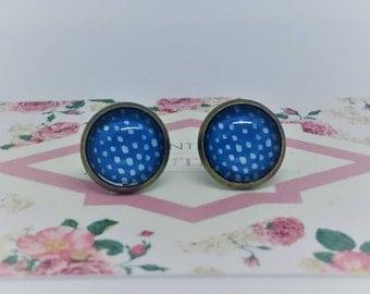 Azure Blue & White Minimal Handmade Vintage Boho Glass Stud Earrings. Jewellery Gift for Women, Girlfriend, Wife, Fiancee, Girl, Valentine.