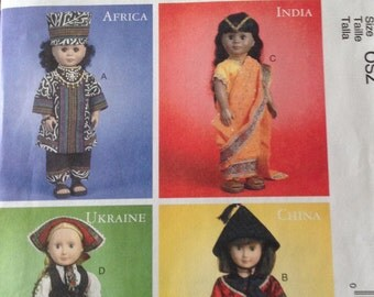 International Clothes for 18 inch doll, McCall's ethnic doll clothing pattern, African top and pants, Chinese top and pants, Indian dress