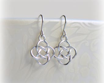 Celtic Knot Earrings, Silver Dangle Earrings, Jewelry Gift, Small Sterling Silver Celtic Earrings, Solid Silver Dangle Earrings, Blissaria