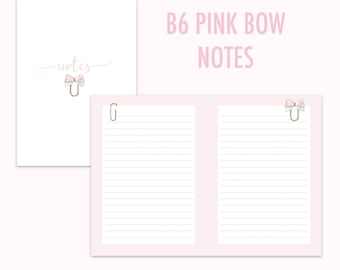 B6 Traveler's Notebook Pink Bow Notes