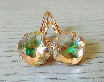 Cushion Cut Earrings, Cushion Cut Dangle, Champagne Earrings, Champagne Sparkle, Rose Gold Earrings, Formal earrings, Swarovski Crystal