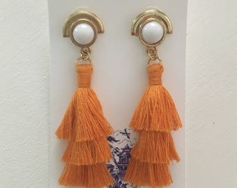 ORANGE and WHITE Stacked Tassel Earrings | layered, tiered, gold, post, statement, team colors, game day, UT, Tennessee, vols