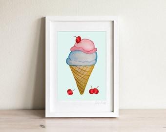 Ice Cream Print, Ice Cream Wall Art, Icecream Girls Room Prints, Girls Room Decor, Wall Art for Girls, Kids Art, Kids Prints, Gifts for Girl