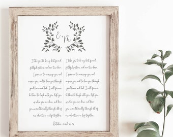 Paper Anniversary Gift - His and Her Wedding Vows - First Anniversary Gift - Wedding Vow Print - Wedding Gift - Frame Not Included