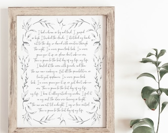 First Dance Song - Wedding Song Print - Wedding Song Lyrics - Song Lyric Art - First Anniversary Gift - Wedding Gift - Frame Not Included
