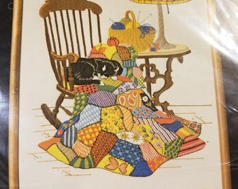 Dimensions Crewel 1980 Vintage Cross Stitch 1165 Patchwork and Rocker Design New