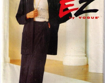 Vogue 8586, 90s sewing pattern, size 18-22 women's jacket and skirt, long sleeve blazer straight skirt