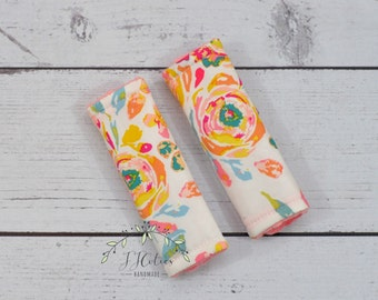 Baby car seat strap Cover rose-car seat neck strap-stroller seat strap-reversible seat strap-infant car seat strap-Flora car seat strap