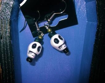 Spooky-Cute, Small, Gothic Skull Hook Earrings in White