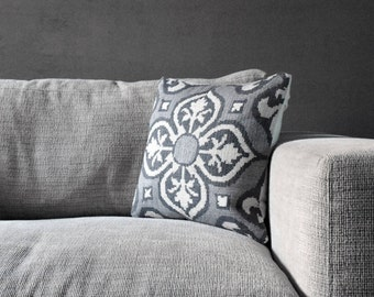 Cross Stitched Cushion Cover - Shades of Gray & White
