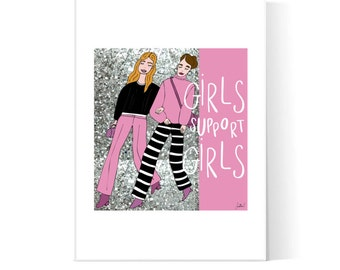 Girls Support Girls Illustration / Girl Power Poster / Sisterhood Quote / Empowering Women / Printable / Instant Download / 2JPEG Files