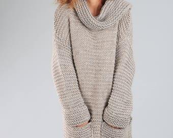 Alpaca sweater / Oversized sweater / Knitted wool sweater / Knitted wrap / Wool sweater / Long sweater / Brown sweater/ Chunky sweater