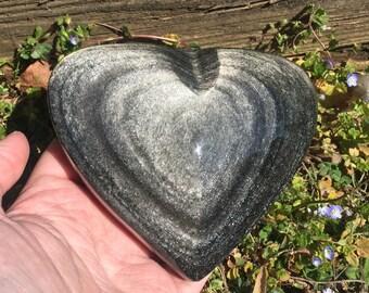 Silver Sheen Obsidian Heart - Mexico