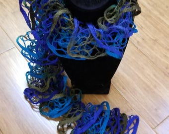 """Teal, Blue and Olive Green Crochet Ruffled Scarf 58"""""""