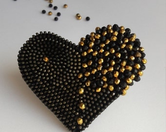 Black and gold brooch Black heart brooch Valentines brooch Zipper jewelry Zipper brooch Metal brooches Unusual brooch Valentines gift heart