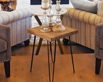 Old Elm Wood Hairpin End Table Rustic Square Surface, Side Table, HW950 993