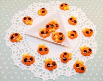 8pc Orange Skull 18mm Kawaii Resin Flatback Cabochon Scrapbook Decoden Craft DIY