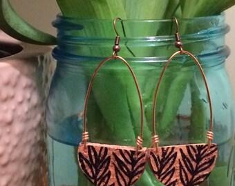 Botanical Leaf Loop Champagne Cork Earring