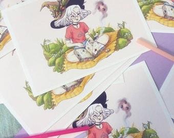 Tarot Witch A6 art-print // Magic witchcraft postcard